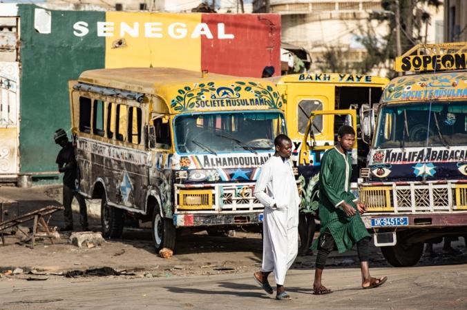 Leaving Dakar buses